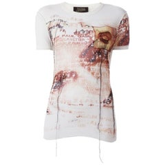 Jean Paul Gaultier Off White Sheer Printed T Shirt