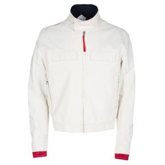 39be6ff74 Prada Sport Off White Gore Tex Contrast Stitch Detail Zip Front Jacket XL