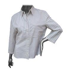 Chanel Identification Striped Cotton Blend Blouse circa 1990s