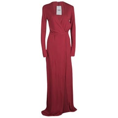 Issa Pomegranate Red High Twist Jersey Antonia Wrap Maxi Dress M