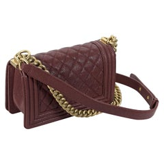 Burgundy Chanel Quilted Leather Boy Bag