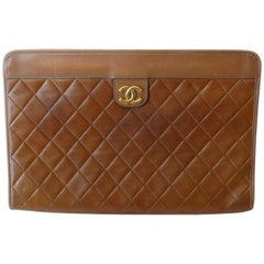 1970s Chanel Quilted Brown Leather Clutch