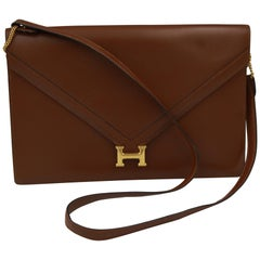 1985 Brown Vintage Hermes Lydie Shoulder Bag / Clutch