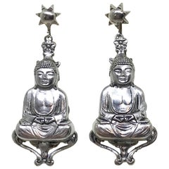 Mid-Century Silvertone Metal Buddha Dangling Screw-Back Earrings