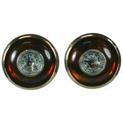 Unusual Tortoise Bakelite Compass Earrings