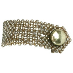 Miriam Haskell Woven Pearl Shirt Cuff Bracelet