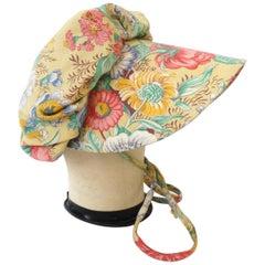 1960s Frank Olive Floral Motif Bonnet