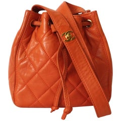 1990s Chanel Orange Quilted Leather Bucket Bag