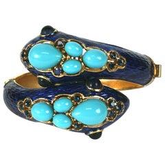 Trifari Jeweled Enamel Snake Cuff