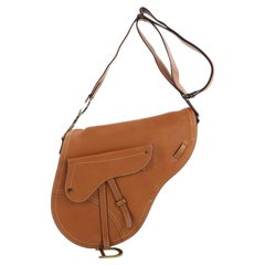 Christian Dior Vintage Saddle Messenger Bag Leather Medium