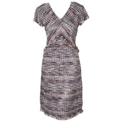 St. John Collection Purple Anna Tweed Woven Stripe Dress