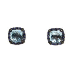 David Yurman Oxidized Sterling Chatelaine Stud W/ London Blue Topaz/Sapphires