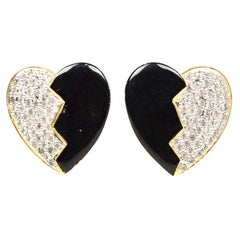 YSL Yves Saint Laurent Vintage Enamel/Crystal Heart Clip-On Earrings