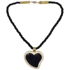 YSL Yves Saint Laurent Vintage Black Enamel Heart W/ Rhinestones Rope Necklace