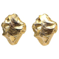 YSL Yves Saint Laurent Vintage Rive Gauche Goldtone Rock Shaped Clip On Earrings