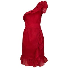 Vintage  Red Givenchy One Shoulder Ruffle Silk Cocktail Dress