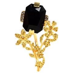 Marni Black Stone & Gold Crystal Floral Goldtone Ring Sz 7