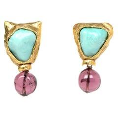 Goosens Goldtone Clip On Earrings W/ Turquoise & Purple Gripoix