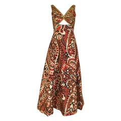 Vintage Malcolm Starr Sleeveless  Paisley Print Cocktail Dress