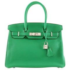 Hermès Menthe Clemence 30 cm Birkin Bag