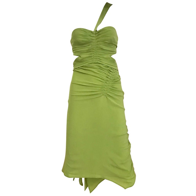 Gucci by Tom Ford Green Silk Cocktail Dress For Sale