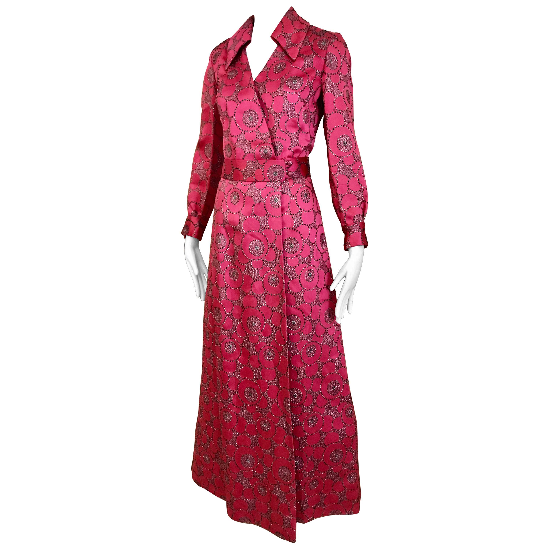 1970s Hot Pink Maxi Shirt Dress