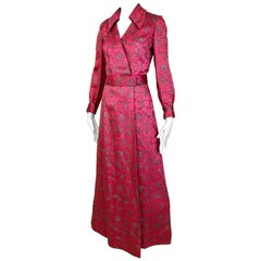 1970s Hot Pink and Silver Long Sleeve Maxi Dress