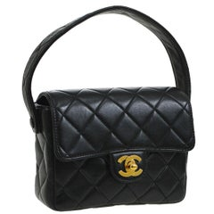 Chanel Black Lambskin Leather Mini Small Party Top Handle Satchel Flap Bag