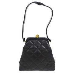 Chanel Black Lambskin Leather Kiss Lock Mini Small Party Top Handle Satchel Bag