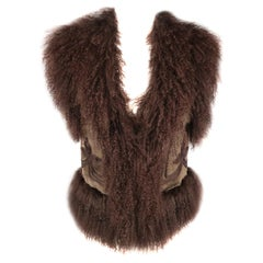 BELA Size XS Brown Mongolian Lamb Fur & Olive Embroidered Suede Vest