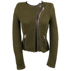 IRO Size 0 Olive Cotton Knit Leather Trim Miali Biker Jacket