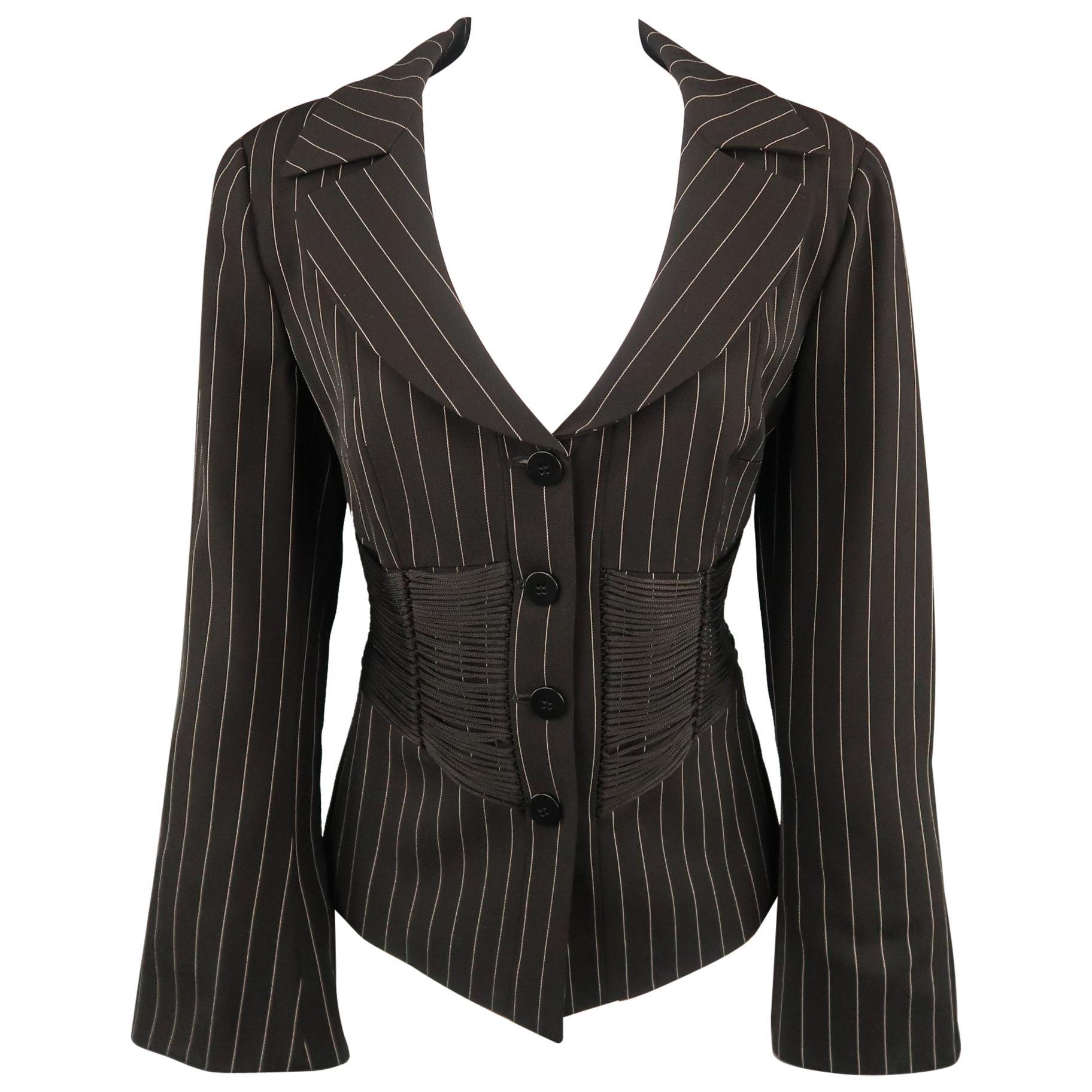 ARMANI COLLEZIONI Size 12 Black Pinstripe Fringe Corset Blazer Jacket