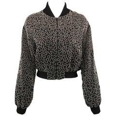 PHILOSOPHY Size 10 Black Clear Beaded Pattern Silk Cropped Bomber Jacket