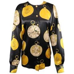 ESCADA Size 4 Black & Gold Pocket Watch Print Silk Collarless Blouse