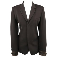 JEAN PAUL GAULTIER Size 12 Black Hidden Placket Leather Cuff Blazer