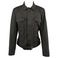 JEAN PAUL GAULTIER Size 8 Black Hiden Placket Brown Belt Trucker Jacket