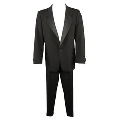 OSCAR DE LA RENTA 40 Black Wool Satin Notch Lapel Tuxedo Suit