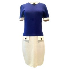 20th Century Two Tone Knit Dress By, Marie Gray For St. John - Size 4
