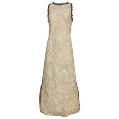 1960s Bill Blass Creme Crushed Velvet Maxi Dress with matching Coat