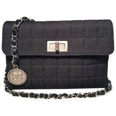 Chanel Square Quilted Denim Convertible Bum Bag Waist Pouch Clutch Shoulder Bag