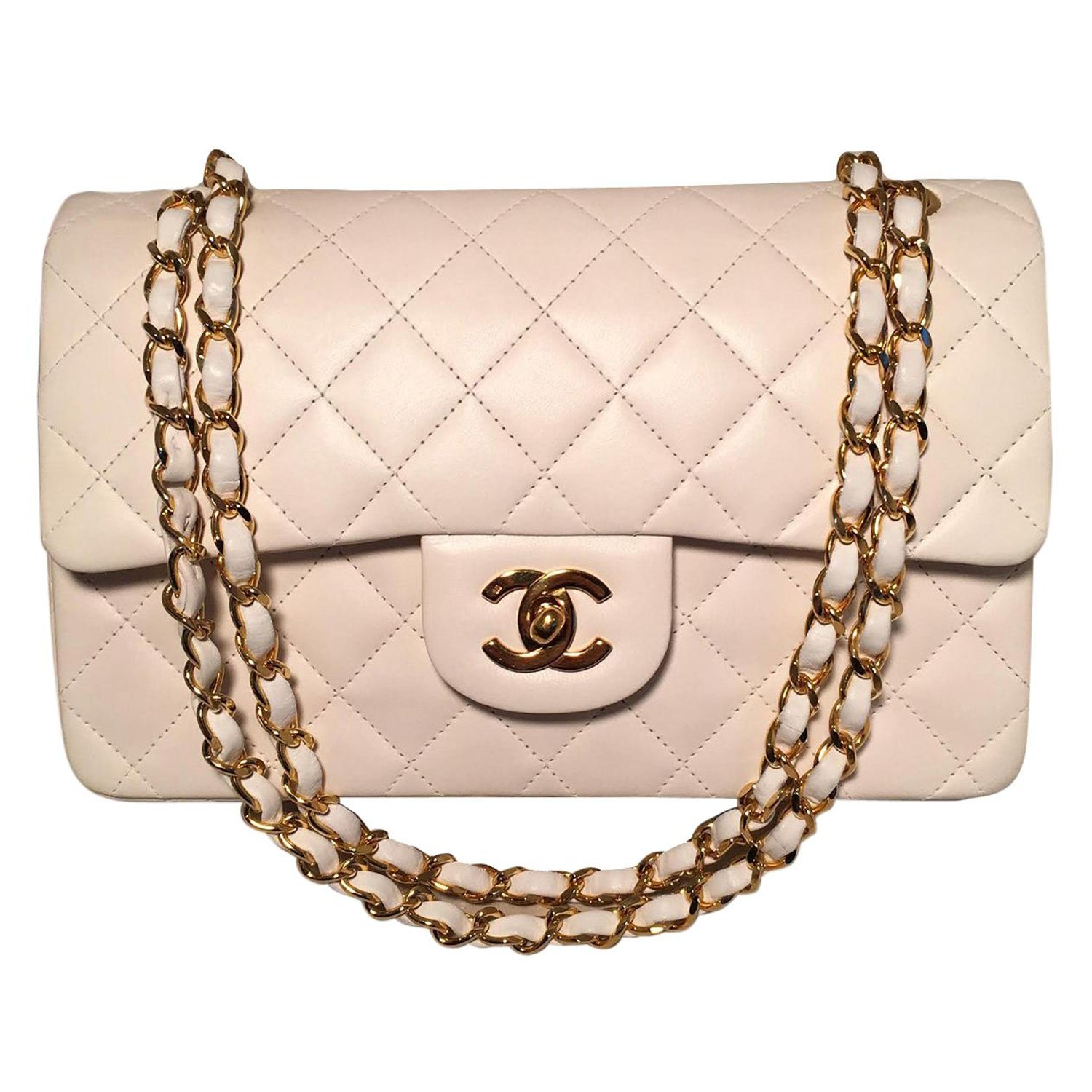 6dac90ddf75b Chanel Vintage White 9 inch 2.55 Double Flap Classic Shoulder Bag For Sale  at 1stdibs