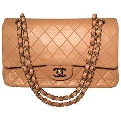 Chanel Vintage Tan 10 inch 2.55 Double Flap Classic Shoulder Bag