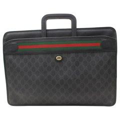 Gucci Sherry Monogram Web Attache Briefcase 868734 Black Coated Canvas Laptop Ba