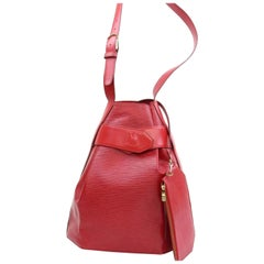 Louis Vuitton Sac D'epaule With Pouch 868278 Red Leather Shoulder Bag