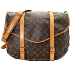 Louis Vuitton Saumur Monogram 43 Gm Saddle 867364 Brown Coated Canvas Messenger