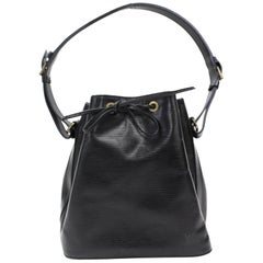 Louis Vuitton Petit Noe Hobo 867388 Black Leather Shoulder Bag