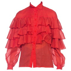1970s Nina Ricci Polka Dot Ruffled Cotton Blouse