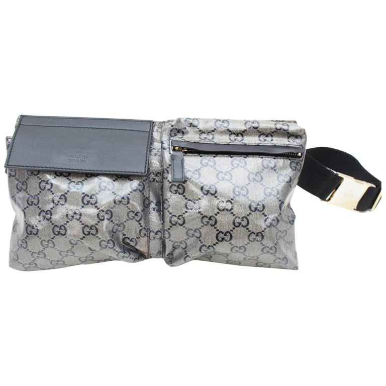 d1ca8122a980 Gucci Crystal Monogram Belt Waist Pouch 867375 Grey Coated Canvas Cross  Body Bag For Sale