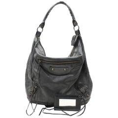 Balenciaga Day Hobo 867638 Black Leather Shoulder Bag