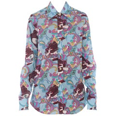 1970s Trippy Psychedelic Cotton Shirt with Masked Lady